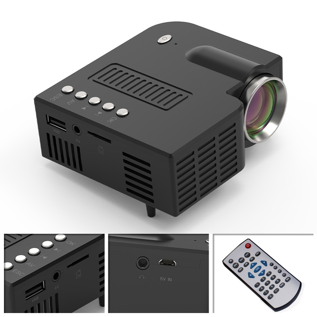 UNIC 28 מיני נייד מקרן 1080p מלא HD LED מקרן קולנוע ביתי בידור מקרנים USB AV TF