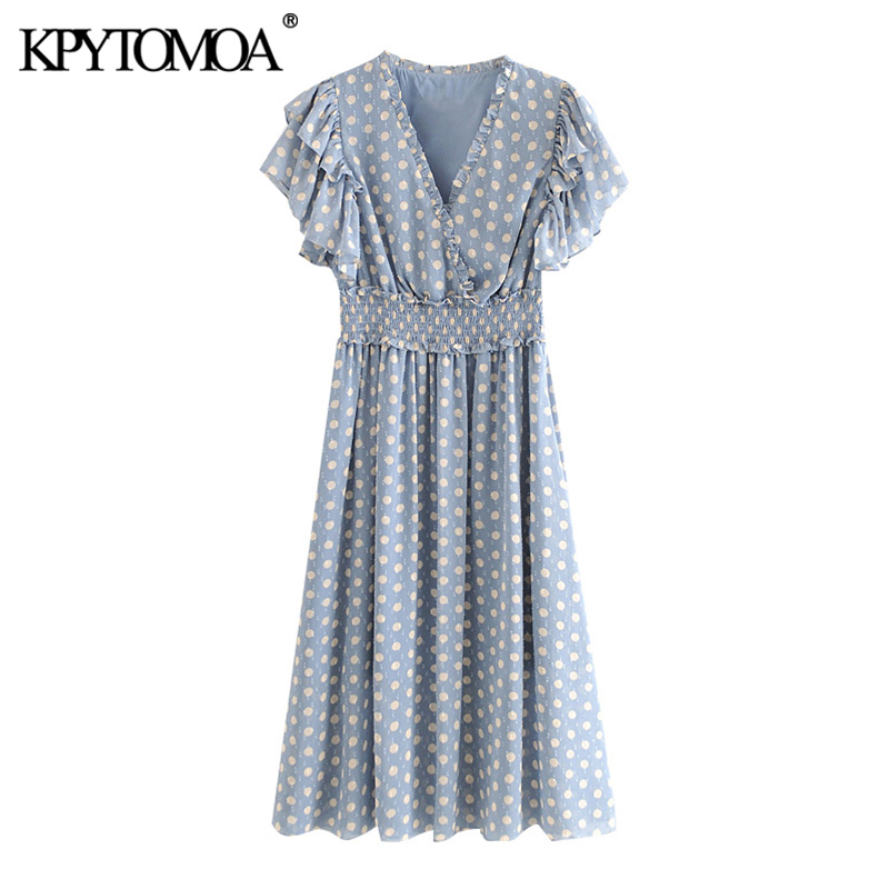 KPYTOMOA Women 2020 Sweet Fashion Polka Dot Ruffled Midi Dress Vintage Elastic Waist With Lining Female Dresses Vestidos Mujer