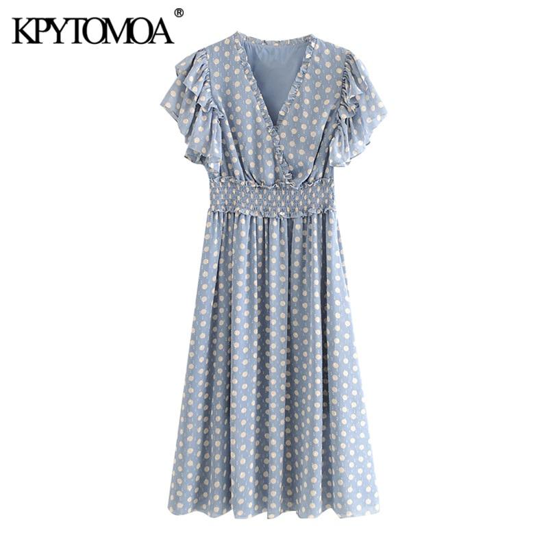 KPYTOMOA Women 2020 Sweet Fashion Polka Dot Ruffled Midi Dress Vintage Elastic Waist With Lining Female Dresses Vestidos Mujer