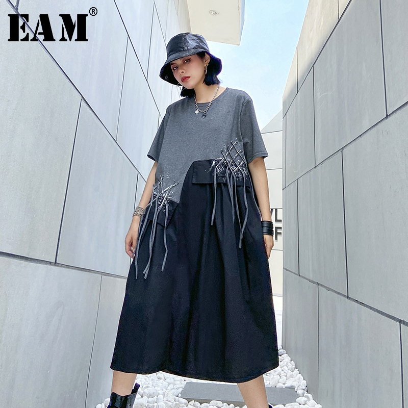 [EAM] Women Pattern Printed Tassels Big Size Dress New Round Neck Half Sleeve Loose Fit Fashion Tide Spring Summer 2020 1U086