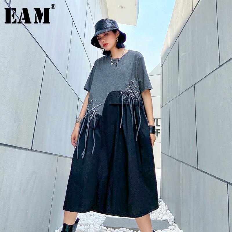 [EAM] Women Pattern Printed Tassels Big Size Dress New Round Neck Half Sleeve Loose Fit Fashion Tide Spring Summer 2020 1U086