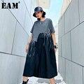 [Eam] feminino padrão impresso borlas tamanho grande vestido novo em torno do pescoço meia manga solta ajuste moda maré primavera verão 2020 1u086