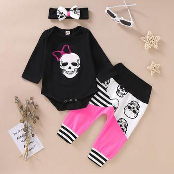 Girls Halloween Outfit 3 pcs Set - Pink Skull