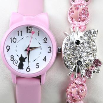 Moda feminina relógio de pulso pulseira conjunto crianças relógios pulseira de couro gato senhoras relógio presentes estudante relógios bonito dos desenhos animados relógio 1