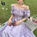 Удача девушка, летнее сиреневое нарядное платье Элегантное кружевное длинное платье в винтажном стиле с квадратным вырезом; Французская Пр...