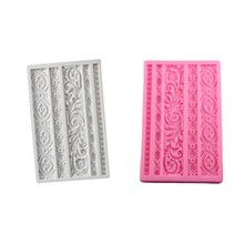 Diy Baroque Scroll Relief Cake Border Silicone Mold Frame Fondant Cake Decorating Tools Candy Chocolate Mould(China)