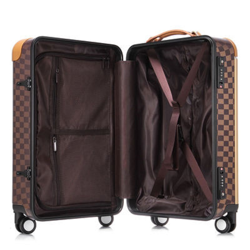 Perfect Luxury Personality 20/22 Inch Size High Quality PC Retro Plaid Rolling Luggage Spinner Brand Travel Suitcase