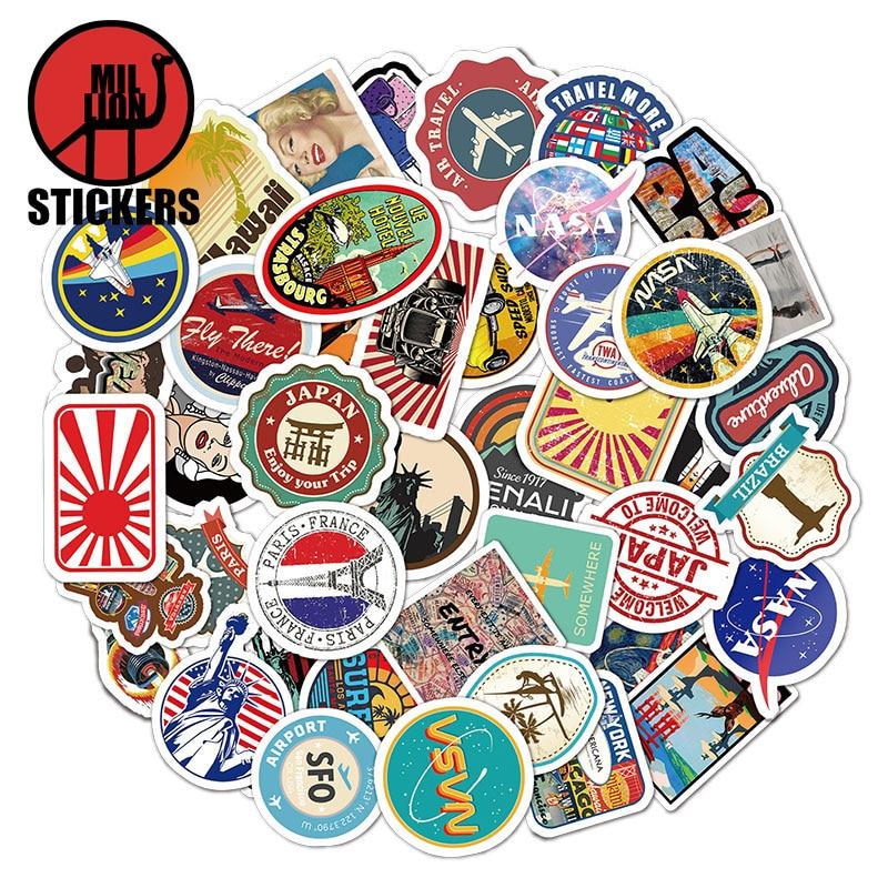 25/50Pcs Travel Stickers For DIY Luggage Bags Phone Laptop Graffiti Sticker Waterproof DIY Decals