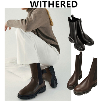 Withered Winter Boots Women Shoes Woman england vintage cowhide knitted Smoker boots Chelsea ankle boot Botas Mujer Shoes Women