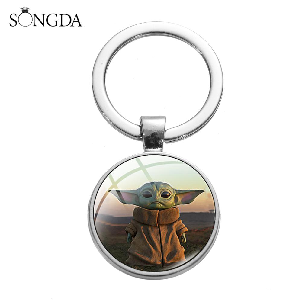 SONGDA Cute Baby Yoda Keychain The Mandalorian Baby Yoda Fun Printed Glass Gem Pendant Key Ring Chain Silver Color Metal Keyring
