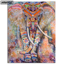 "5D DIY Diamond Painting Full Square/Round Drill ""Color Elephant"" Sale Embroidery Cross Stitch Gift Animal Home Decor Gift(China)"