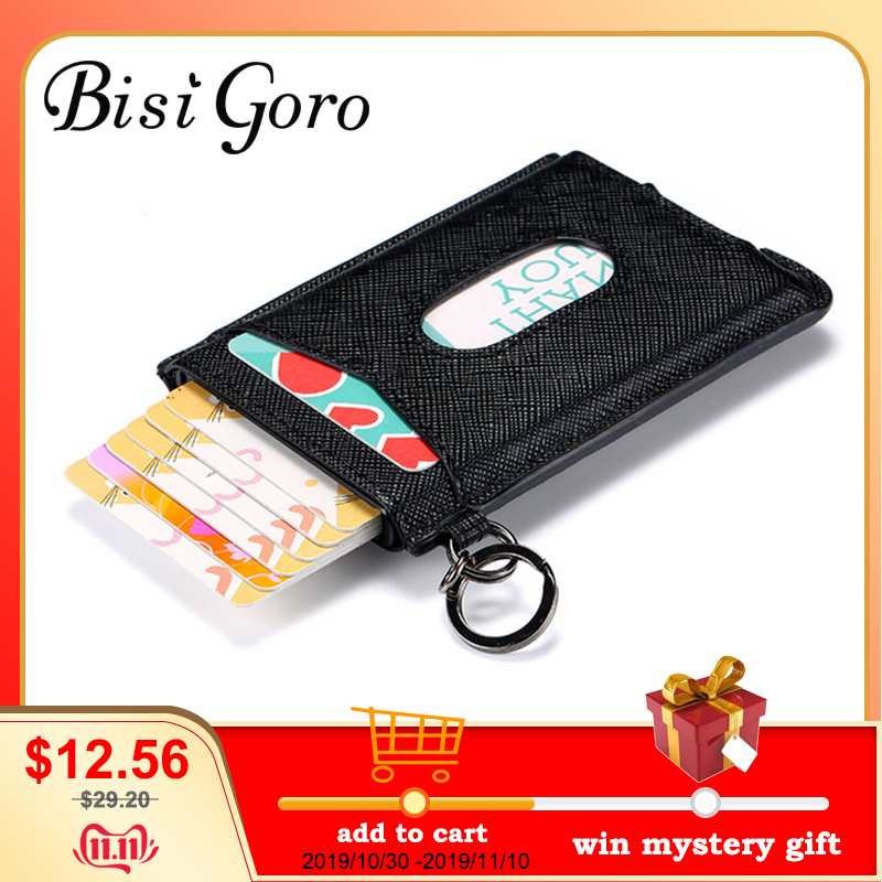 BISI GORO 2019 Cowhide  Minimalist RFID Wallet  Card Holder Slim Anti-theft Security ID Holders Aluminum Box Pup Up Card Case