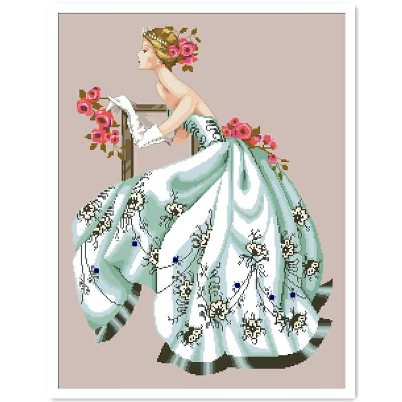 Rose fairy white dress cross stitch kit people design cotton silk thread 14ct 11ct linen flaxen canvas embroidery DIY needlework