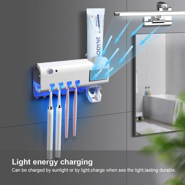 Creative led uv light sterilizer toothbrush box wall automatic toothpaste holder disinfection disinfector ultraviolet uvc lamp