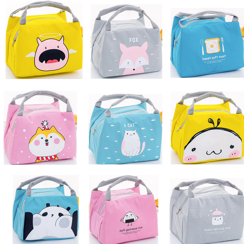 Cartoon Cute Lunch Box Bag For Women  Animal Pattern Insulated Food Cooler Bag Picnic Travel Convenient Lunch Bags For Kids Men