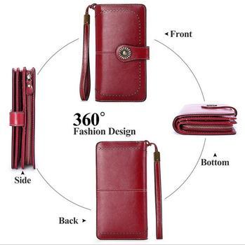 Frauen Weibliche Brieftasche Aus Echtem Leder Geldbörse Kupplung Lange Brieftasche Frauen Brieftaschen Zipper Geldbörse Telefon Tasche Für IPhone 7