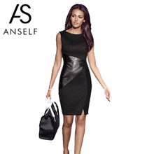 Anself 5XL Plus Size Vrouwen Bandage Dress PU Leather Splice O Hals Midi Bodycon Jurk Mouwloze Elegante Slim Party Dress zwart(China)