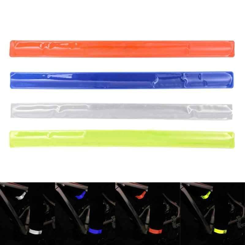 เรืองแสงจักรยานล้อจักรยาน Reflector ผูกกางเกงขาสะท้อนแสงสติกเกอร์สะท้อนแสงปลอดภัย Decal อุปกรณ์เสริม