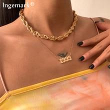Vintage wielowarstwowy metalowy łańcuszek naszyjnik kobiety złoty kolor Twisted 1999 rok wisiorek Choker naszyjniki biżuteria nowa moda biżuteria