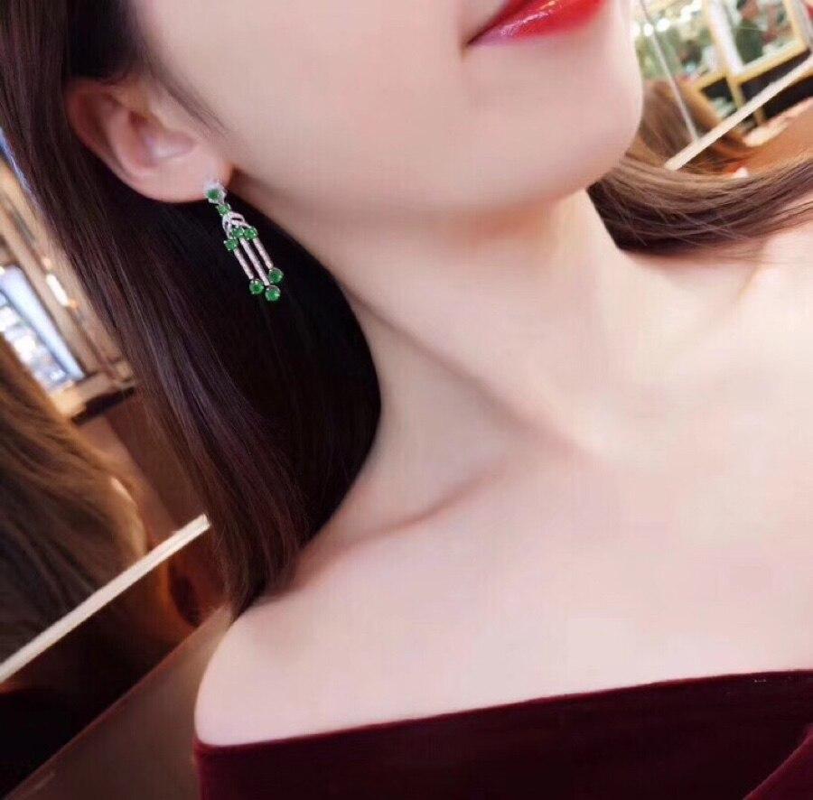 Женские серьги гвоздики SHILOVEM из стерлингового серебра 925 пробы с натуральным изумрудом, классические ювелирные украшения, свадебный подаро