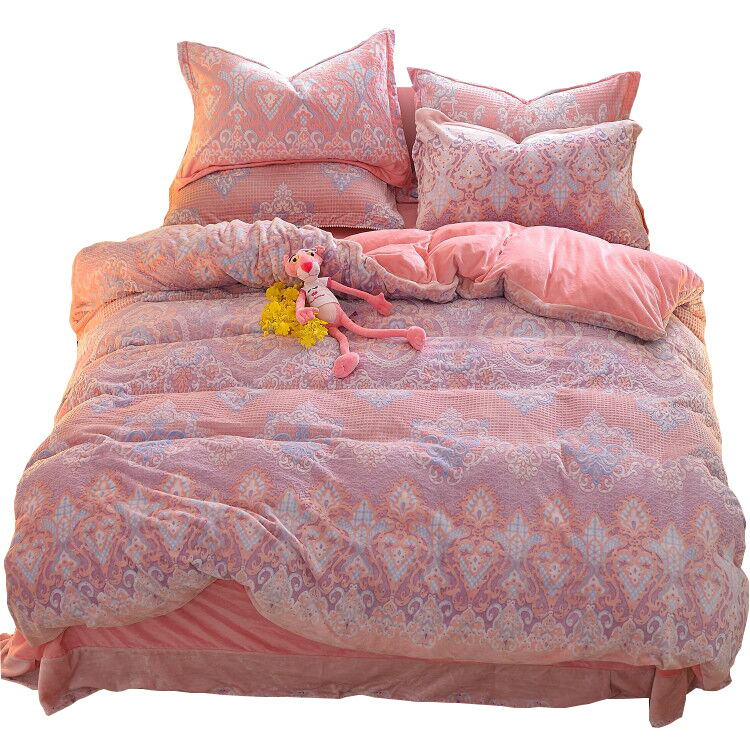 8d Embossed Fabric 2019 Autumn And Winter Thick Warm Crystal Milk Velvet AB Version of Four-piece Set Bedding Article