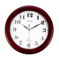 Wine Red Pine Wood Acrylic Mirror Round Classicism Style Clock Classic 12 Atomic Radio Controlled Wall Clock BGW612 YG