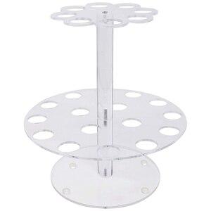 Круглый, прозрачный, акриловый мини-держатель конуса для мороженого с 24 отверстиями для отображения суши ручных рулонов Кукуруза хлопок ко...
