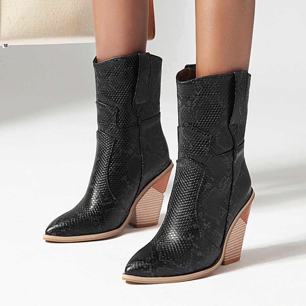 SAGACE buty damskie zamek nadruk węża botki kwadratowy obcas moda szpiczasty nosek panie seksowne buty kobieta Bota Feminina O15