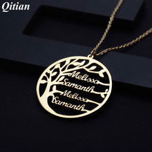 Hot Statement Family Tree Necklace For Women Customized Name Gold Color Stainless Steel Personalized Jewelry Men Christmas Gift(China)