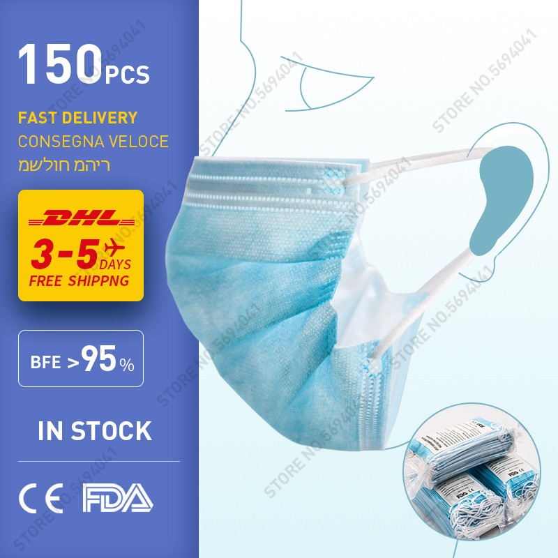 DHL 150pcs Face Mask Anti-Pollution 3 Layer Protection Face Mask Mouth Masks Disposable Nonwoven Mask Disposable Hygiene Mask