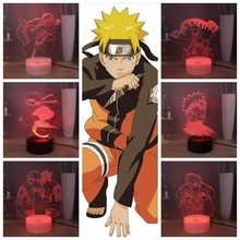 NEW Naruto LED Night Light for Kids Kakashi Sasuke Desk Lamp Manga 3D Bedroom Bedside Lamp Novelty Boys Girls Birthday Xmas Gift(China)