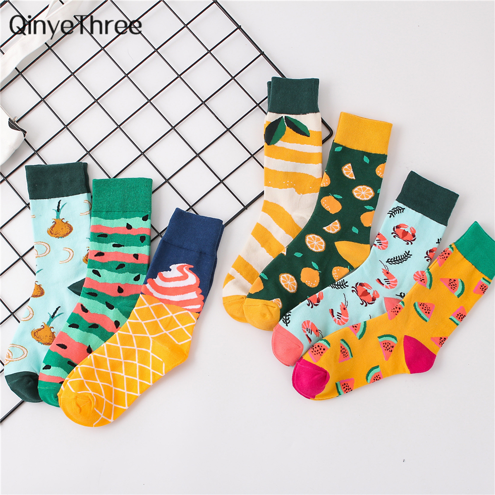 Cool Food Animal Hip Hop Crew Socks Funny Street Happy Socks Women Harajuku Divertidos Skateboard Chaussette Ms. Dropship
