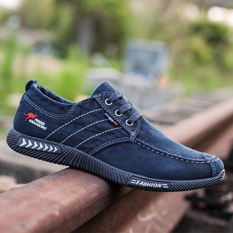 Men shoes 2020 spring men canvas shoes flat casual shoes lace up comfortable breathable shoes man flats size 39 - 44 6