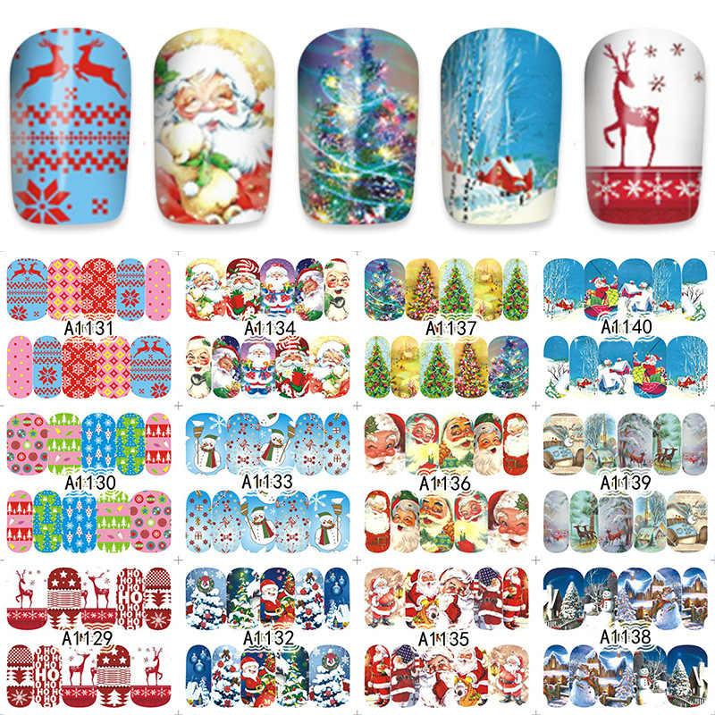 12 adet Noel Tırnak Çıkartmalar Su Çıkartmaları Kardan Adam Noel Baba Geyik Akçaağaç Tırnak Sanat Yeni Yıl Kaymak Manikür Tam Sarar araçları