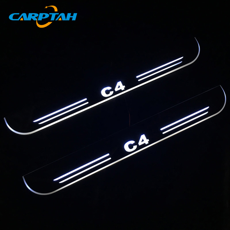 CARPTAH Trim Pedal Car Exterior Parts LED Door Sill Scuff Plate Pathway Dynamic Streamer light For Citroen C4 2015 - 2017 2018