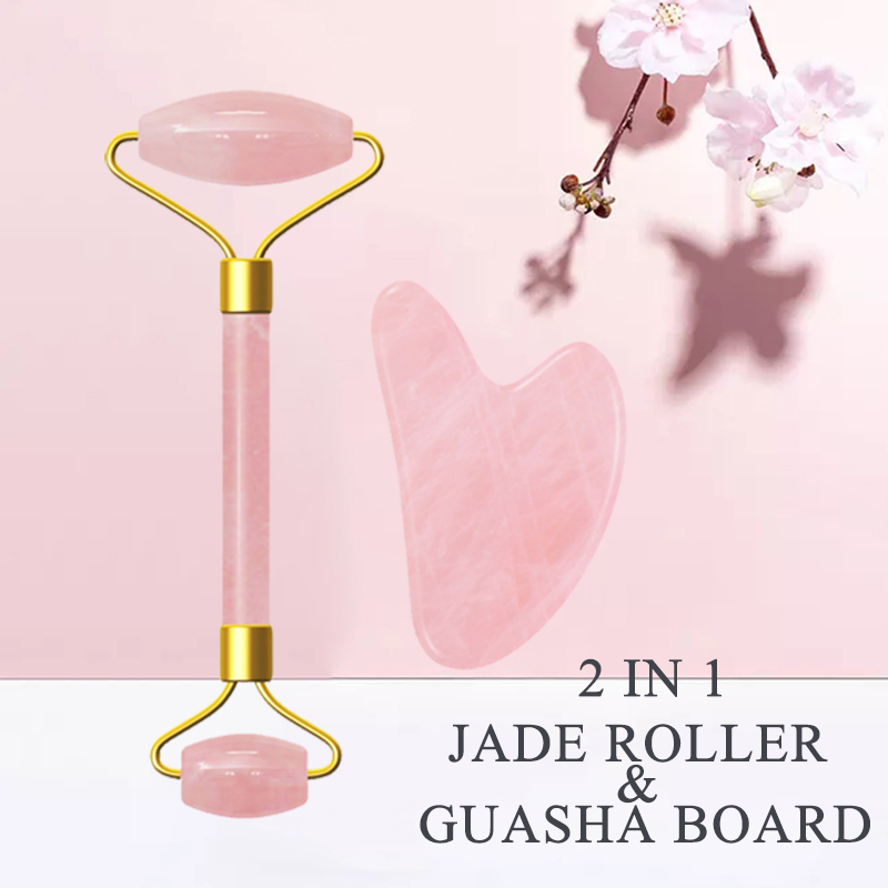 Rose Quartz Roller Face Lifting Tool Jade Gua Sha Roller Face Thin Massager Wrinkle Removal Guasha Tool Jade Facial Massager