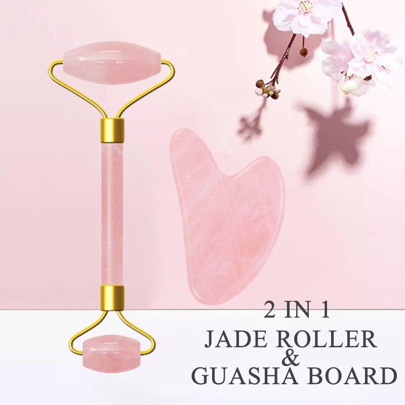 Rosa rolo de quartzo face lifting ferramenta jade gua sha rolo rosto fino massageador remoção do enrugamento guasha ferramenta jade massageador facial