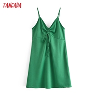 Tangada Women Green Mini Dress Strap Adjust Sleeveless 2021 Fashion Lady Dresses Vestido QN126 1