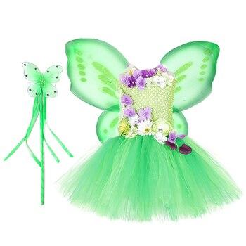 Tinkerbell Vestito Dal Tutu Della Ragazza Con Le Ali e Bacchette Belle Ragazze Fiori Fata Abiti Da Festa di Compleanno Per Bambini Eseguire Costume