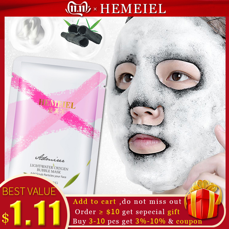 HEMEIEL NEW Detox Oxygen Bubble Mask Bamboo Charcoal Whitening Face Mask Deep Clean Acne Treatment Korean Sheet Mask Skin Care