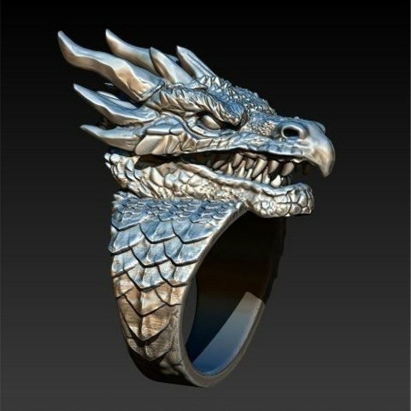 Новинка, ретро, готическое, панк, мужское кольцо, цинковый сплав, властный дракон, хип-хоп кольцо, мужской мотоцикл, подарок, ювелирное издели...