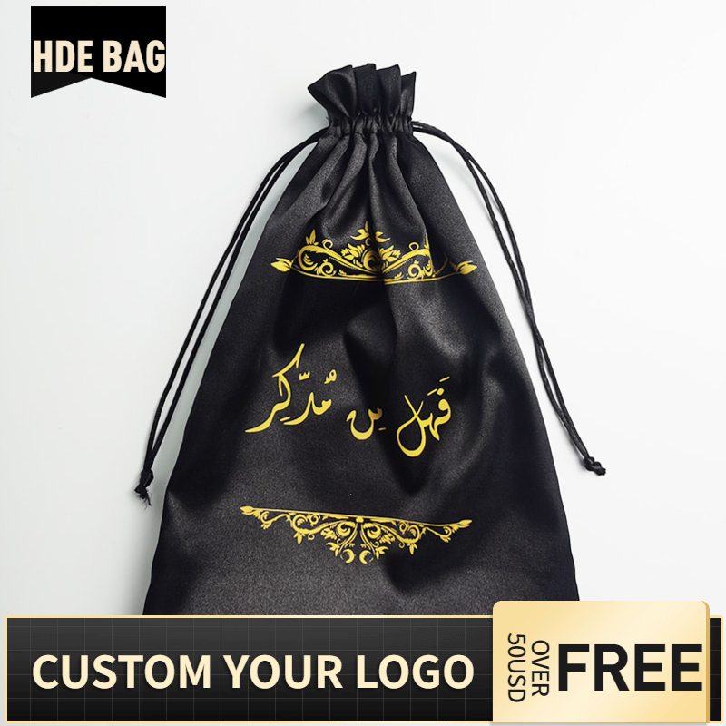 50pcs Custom Logo Silk Satin Bundle Wigs Extension Hair Drawstring Packaging Bag