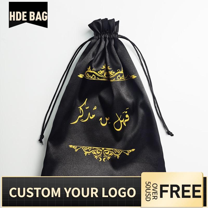 50pcs Custom Logo Silk Satin Bundle Wigs Extension Hair Drawstring Packaging Bag