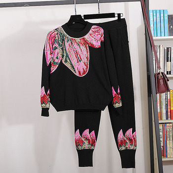 2020 Spring autumn women's leisure suit high quality sequins embroidery sweaters+casual knitted pants two piece set B548