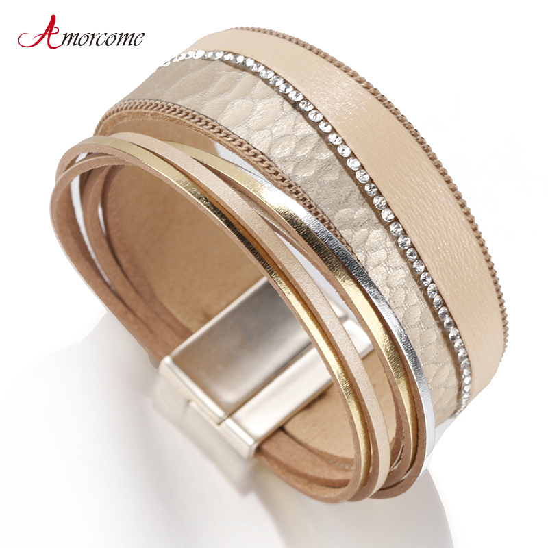 Amorcome Leather Bracelets For Women Fashion Crystal Bohemian Wrap Multilayer Wide Bracelet Ladies Jewelry(China)