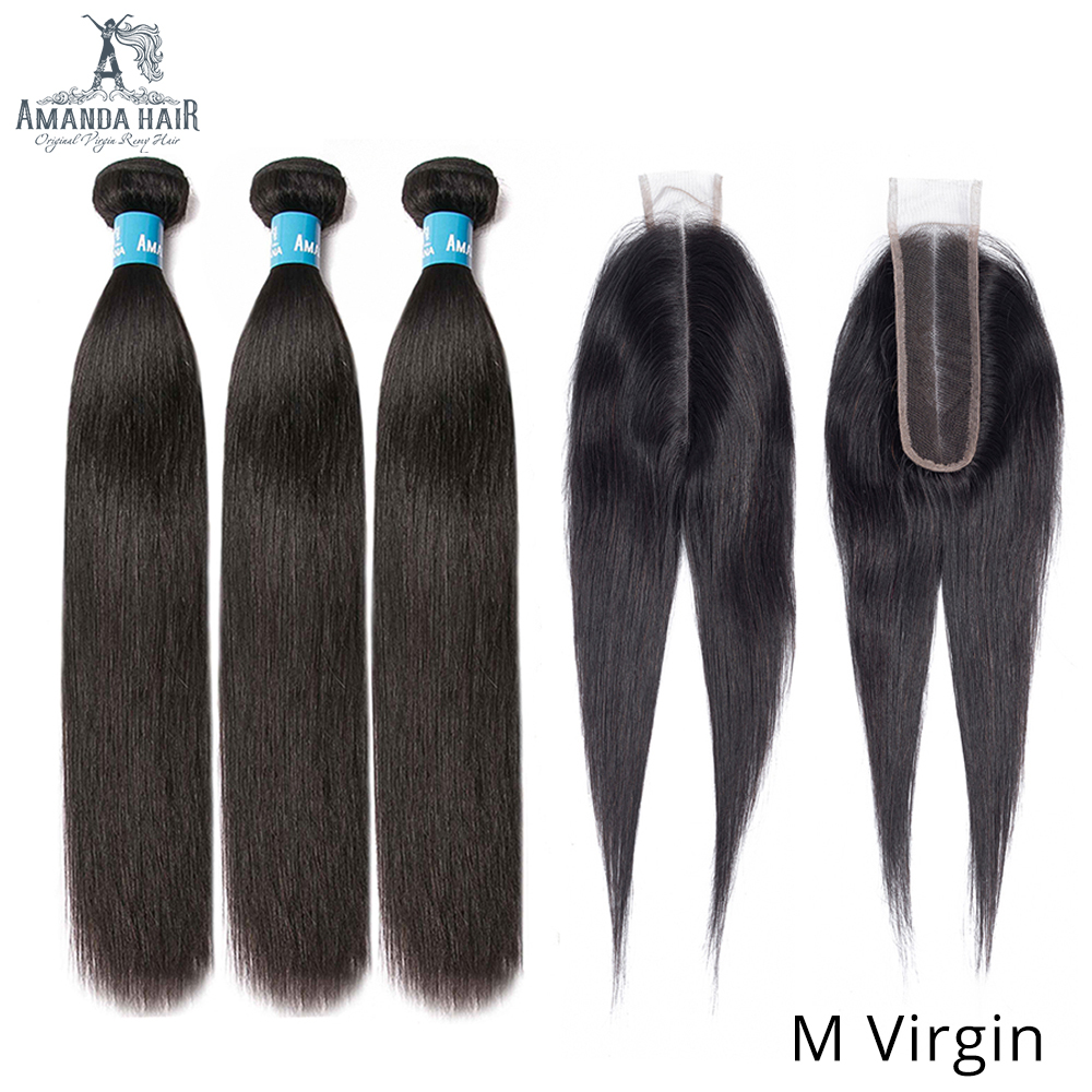 Amanda Double Drawn Human Hair Bundles With Kim K Closure 2x6