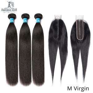 Amanda Double Drawn Human Hair Bundles with Kim K Closure 2x6 Unprocessed Virgin Peruvian Straight Hair Bundle with Closure