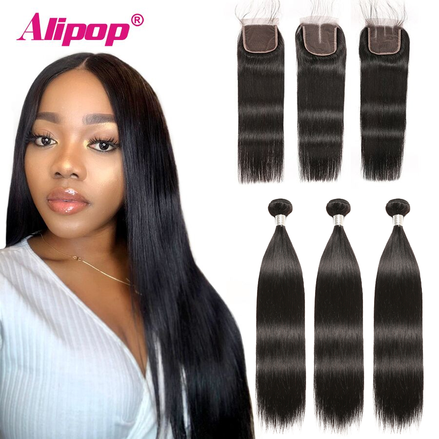3 Bundles Peruvian Straight Hair Bundles With Closure 70G  Human Hair Bundles With Closure Alipop 4