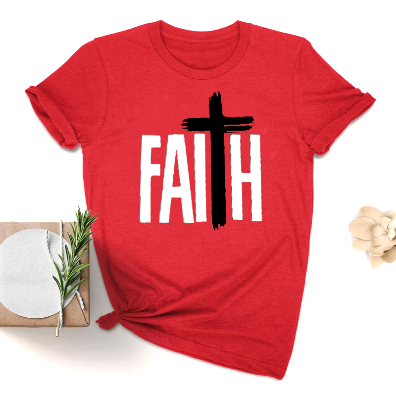 Faith New Summer Fashion O-Neck Short Sleeve Tee Shirt <font><b>80s</b></font> 90s <font><b>Aesthetic</b></font> 100% Cotton Hipster Lady Female Clothes Drop Shipping image