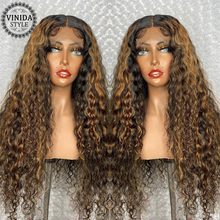 VINIDA STYLE Highlight Curly 13×6 Lace Front Human Hair Wigs Scalp Top Closure Wigs 150% Density With Baby Hair Non-Remy